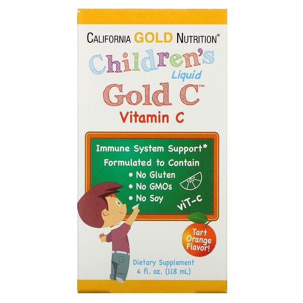 "California Gold Nutrition, ויטמין Gold C נוזלי לילדים, עומד בדרישות של USP, בטעם תפוז טבעי, 118 מ""ל (4 אונקיות נוזל)"